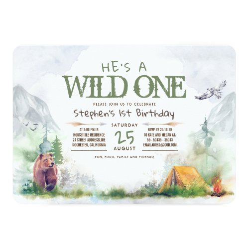 Wild One Adventure Birthday Party Woodland Invitation