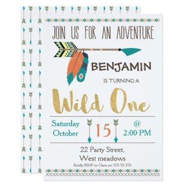 Aztec Themed Wild One Arrow 1st Birthday Invitation For Boy