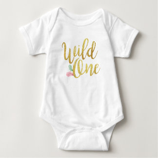 Wild one Baby birthday Girl bodysuit Gold shirt
