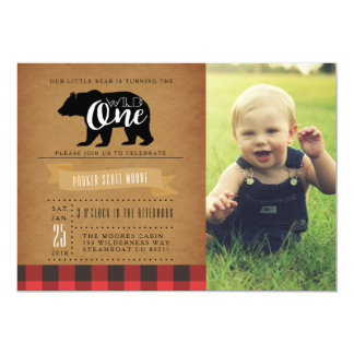 Wild One Bear | First Birthday Party Photo Card