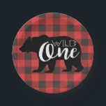 "Wild One Bear | Flannel First Birthday Paper Plate<br><div class=""desc"">By Redefined Designs</div>"