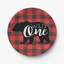Wild One Bear | Flannel First Birthday Paper Plate
