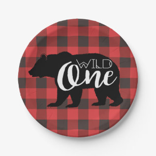 Wild One Bear | Flannel First Birthday Paper Plate at Zazzle