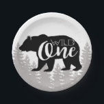 """Wild One Bear   Forest   First Birthday Paper Plate<br><div class=""""desc"""">By Redefined Designs</div>"""