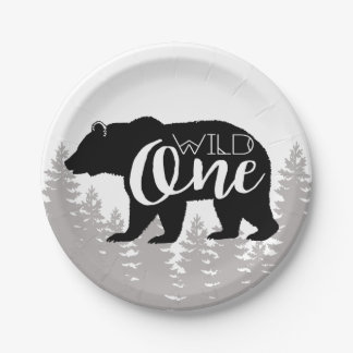 Wild One Bear | Forest | First Birthday Paper Plate