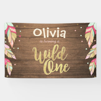 Wild one birthday banner Feathers Gold boho Tribal