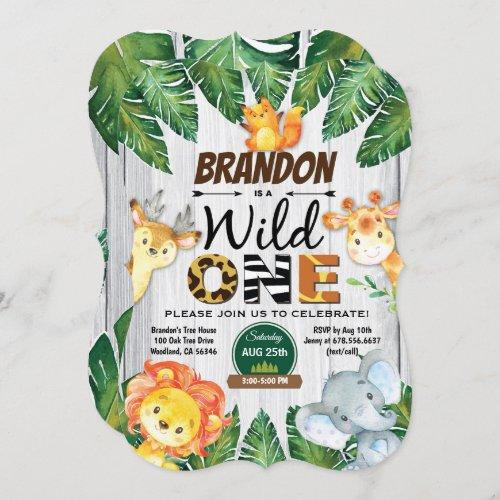 Wild One birthday invitation. Boy jungle safari Invitation