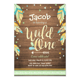 Wild One birthday invitation First birthday Boy