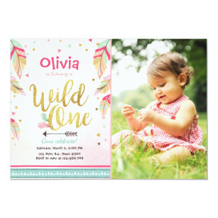 Coral 1st birthday invitations zazzle wild one birthday invitation first birthday girl filmwisefo
