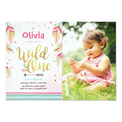 Photo Wild One Birthday Invitation Boy – Toddler Girl Birthday Invitations