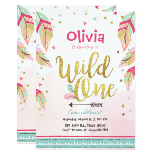 girls wild one invitations zazzle