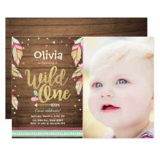 Girl first birthday invitations announcements zazzle wild one birthday invitation first birthday girl stopboris Image collections
