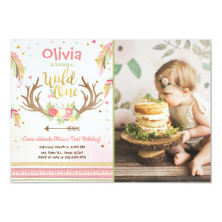 Wild One birthday invitation First birthday Girl