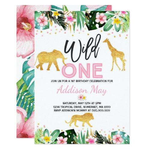 Wild One Birthday Invitation Jungle Animals Party