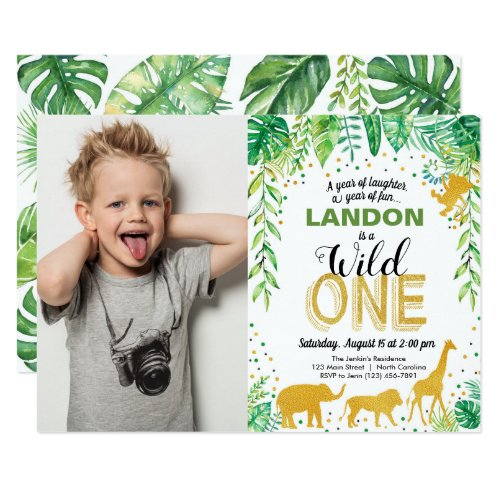 Wild One Birthday Invitation Jungle Safari Animals