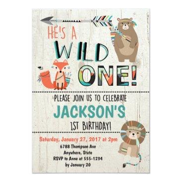 FavoriteThingsDesign Wild One Birthday Invitation - Tribal Animals