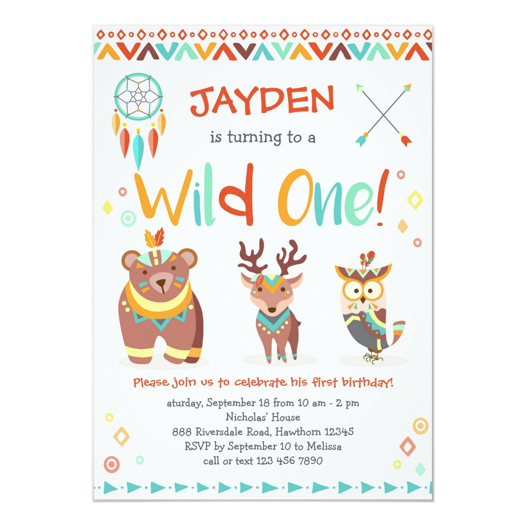 Wild One Birthday Invitation, Tribal Woodland Card