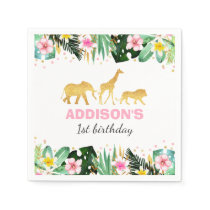 Wild One Birthday Jungle Animals Napkin