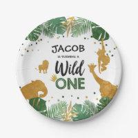 Wild one birthday Paper Plates Safari Animals Boy