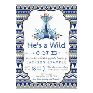 Wild One Birthday Party Boys Teepee First Birthday Card