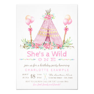 Wild One Birthday Party Pink Teepee First Birthday Card