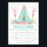 """Wild One Birthday Party Teepee First Birthday Card<br><div class=""""desc"""">Girls wild one first birthday party invitation with rustic tribal teepee and balloons on a pretty floral and tribal arrow background. These tribal wild one first birthday party invitations are easily customized for your event by simply adding your details.</div>"""