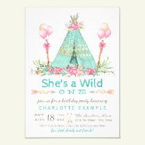 Wild One Birthday Party Teepee First Birthday Invitation