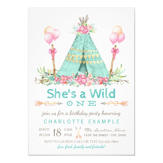 b834abd2c Wild One Birthday Party Teepee First Birthday Invitation | Zazzle.com