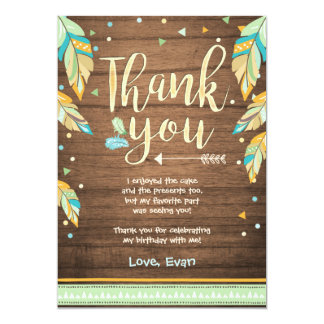 Wild One birthday Thank you card Blue green Boy