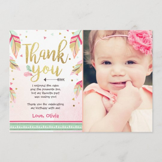 Wild One Birthday Thank You Card Pink Gold Girl Zazzle
