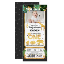 Wild One Birthday Ticket Invitation Jungle Animals