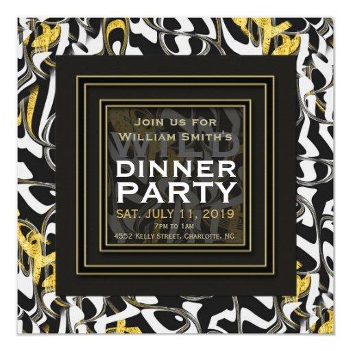 Wild one! Black White Gold design Dinner Party Card