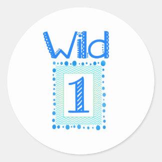 Wild One Blue Green First Birthday Stickers