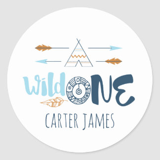 Wild One Boy First Birthday Stickers