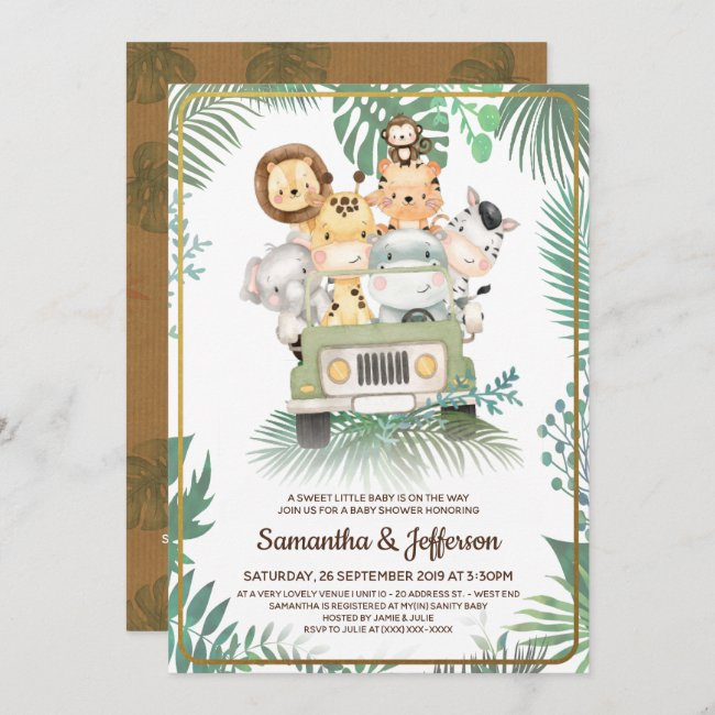 Wild One Cute Safari Animals Baby Shower Invitation