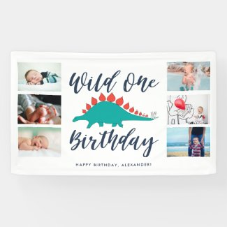 Wild One Dinosaur Photo Collage Birthday Party Banner