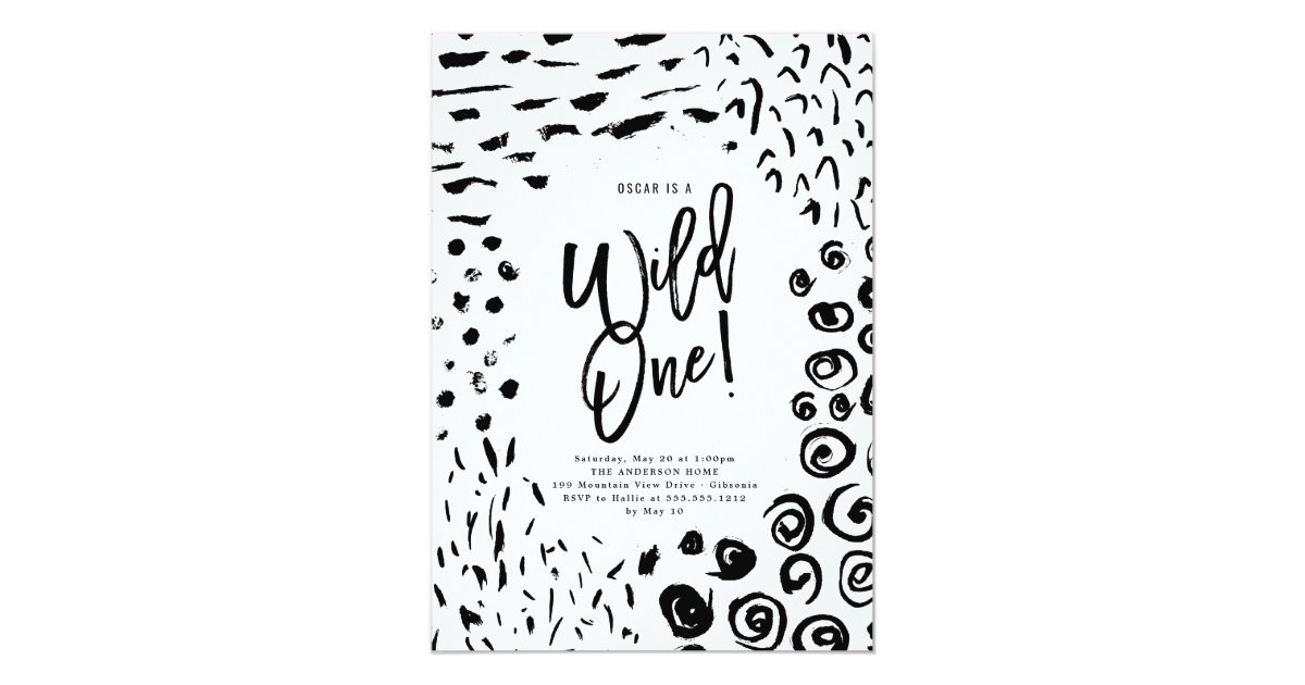 Wild One First Birthday Animal Print Invite Zazzle