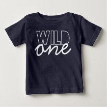 Wild One First Birthday Baby T-shirt in Navy