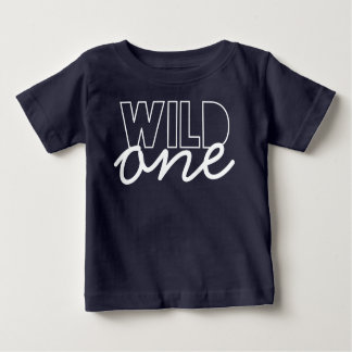 Wild One First Birthday Baby T-shirt in Navy