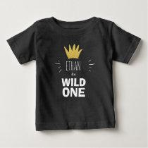 Wild one First birthday Crown Black Gold T-Shirt