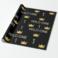Wild One First Birthday Gold Crown Wrapping Paper