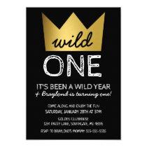 Wild One First Birthday Invitation Gold Crown
