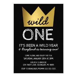 King invitations announcements zazzle wild one first birthday invitation gold crown stopboris Gallery