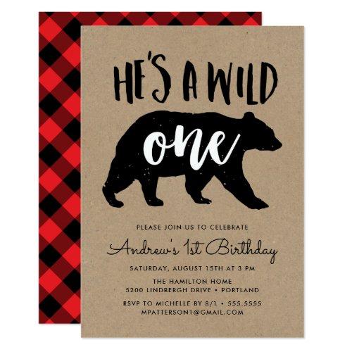 Wild One  First Birthday Party Invitation