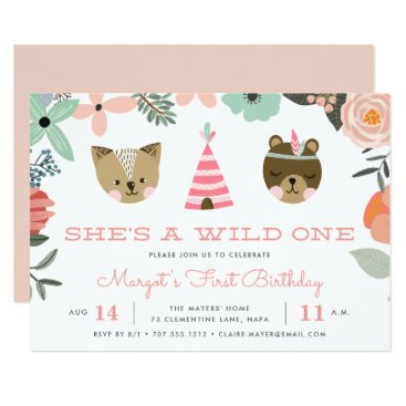 Toddler & Baby themed Wild One | First Birthday Party Invitation