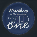 """Wild One First Birthday Party Paper Plates<br><div class=""""desc"""">These Wild One First Birthday Party Paper Plates are perfect for serving cake and ice cream at your little boy&#39;s first birthday party!</div>"""