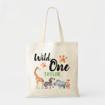 Wild One First Birthday Safari Animal Kids Tote Bag