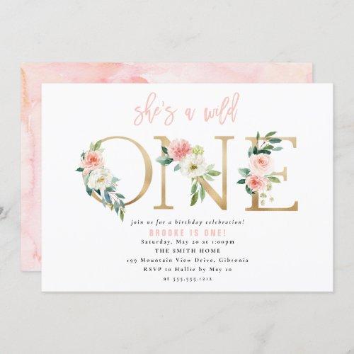 WILD ONE Floral First Birthday Invitation