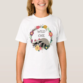 Wild One Floral Wreath Raccoon T-Shirt