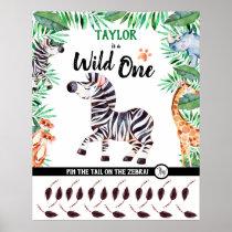 Wild One Game Safari Animal Zebra 1st Birthday Poster